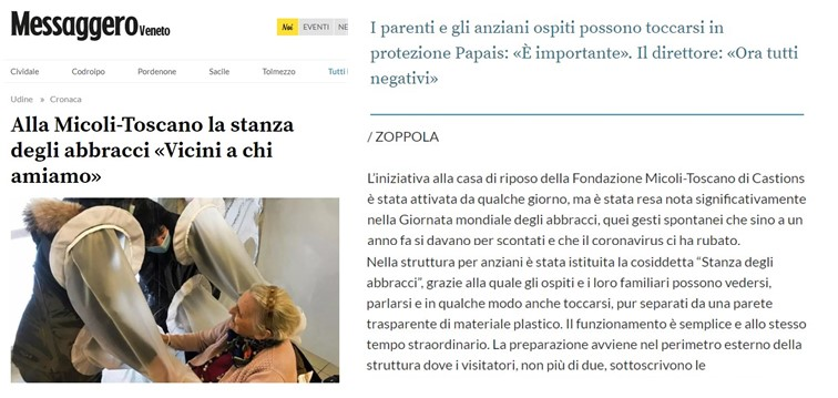 «Vicini a chi amiamo» (dal Messaggero Veneto)
