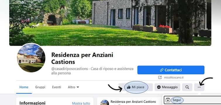 Residenza per Anziani Castions: siamo anche su Facebook!