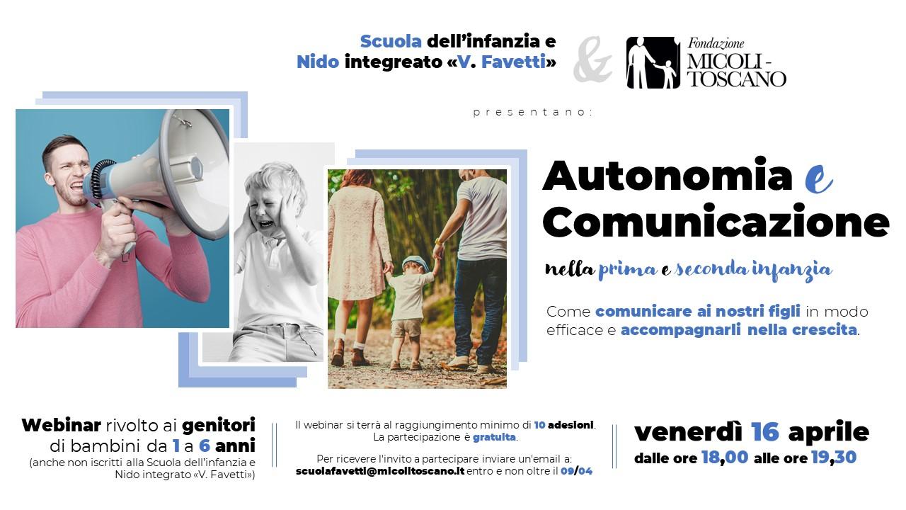 """""""Autonomia e Comunicazione"""": un webinar aperto a tutti."""